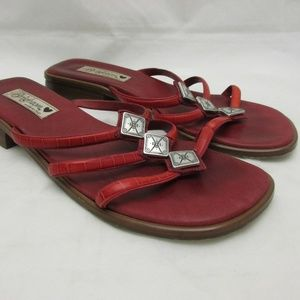 Brighton Red Leather Open Toe Sandals